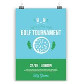 Vector Golf poster design with flat elements. Template for sport flyer, competition.