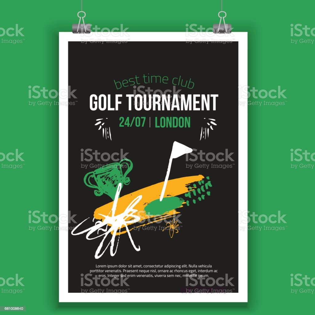 Vector Golf poster design with hand drawn elements. Template for sport flyer, competition royalty-free vector golf poster design with hand drawn elements template for sport flyer competition stock vector art & more images of archival