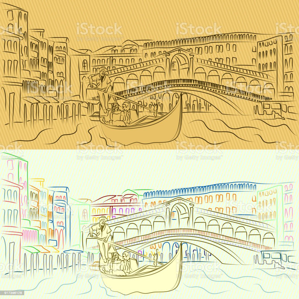 Vector gondola with lovers on the Grand Canal on the background of the Rialto Bridge vector art illustration