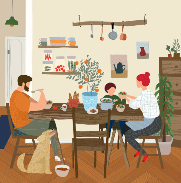 vector gouache painted flat illustration of a happy family at home in the kitchen for lunch, dinner or breakfast, mother, father, child and dog in a cozy apartment are sitting at the table and eating vector art illustration