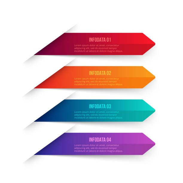 Vector gradient arrows elements for infographic. Template for diagram, graph, presentation and chart. Business concept with 4 options, parts, steps or processes. Abstract background. vector art illustration