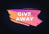Vector gradient brush giveaway banner. Trendy style illustration of hand drawn brush stroke on black. Design element for modern style promotion advertising post in social network.