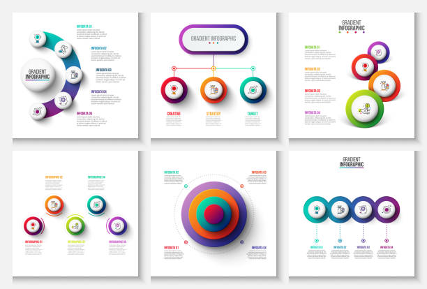 vector gradient infographic and marketing elements. can be used for presentation, diagrams, annual report, web design. business concept with 3, 4, 5 and 6 options, steps or processes. - three shapes stock illustrations, clip art, cartoons, & icons