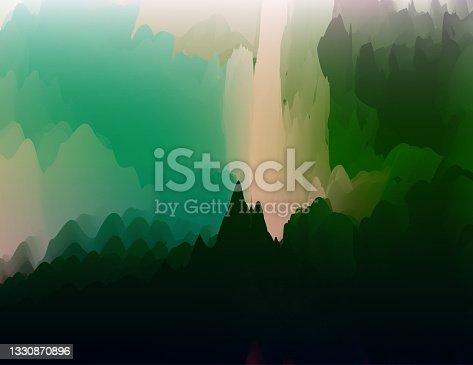 istock Vector gradient watercolor surrealism nature landscape art poster background for design 1330870896