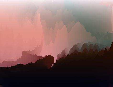 Vector gradient watercolor surrealism nature landscape art poster background for design