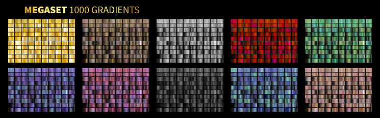Vector Gradients Megaset Big collection of metallic gradients 1000 glossy colors backgrounds Gold, bronze, silver, chrome, metal, black, red, green, blue, purple, pink, yellow, white, rose gold colors