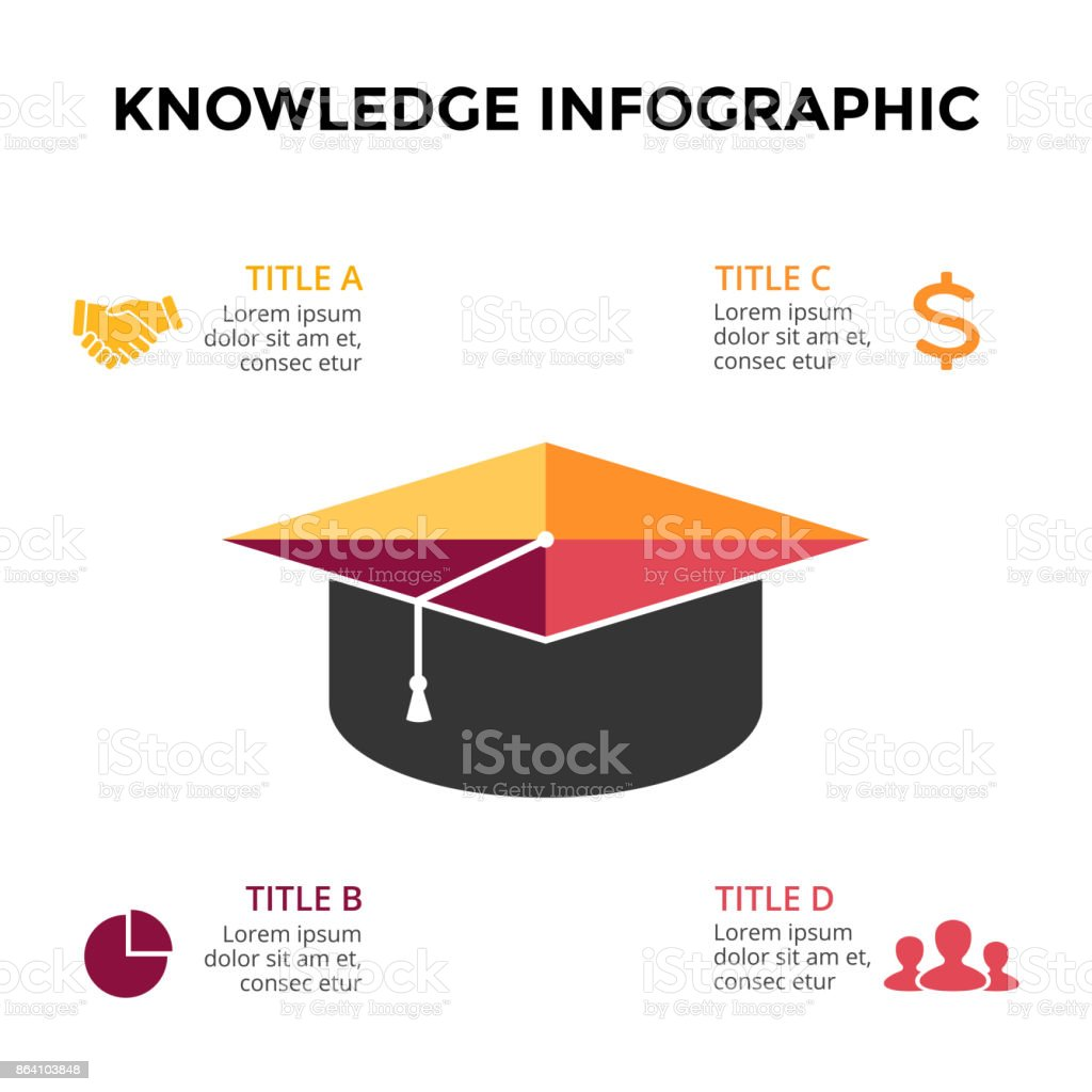 Vector graduation cap infographic, education diagram, knowledge chart, learn study graph presentation. Business write concept with 4 options, parts, steps, processes royalty-free vector graduation cap infographic education diagram knowledge chart learn study graph presentation business write concept with 4 options parts steps processes stock vector art & more images of arrow symbol