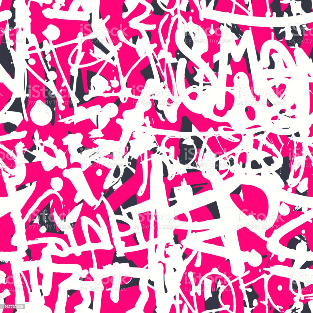 Vector Graffiti Seamless Pattern With Abstract Colorful Bright T ...