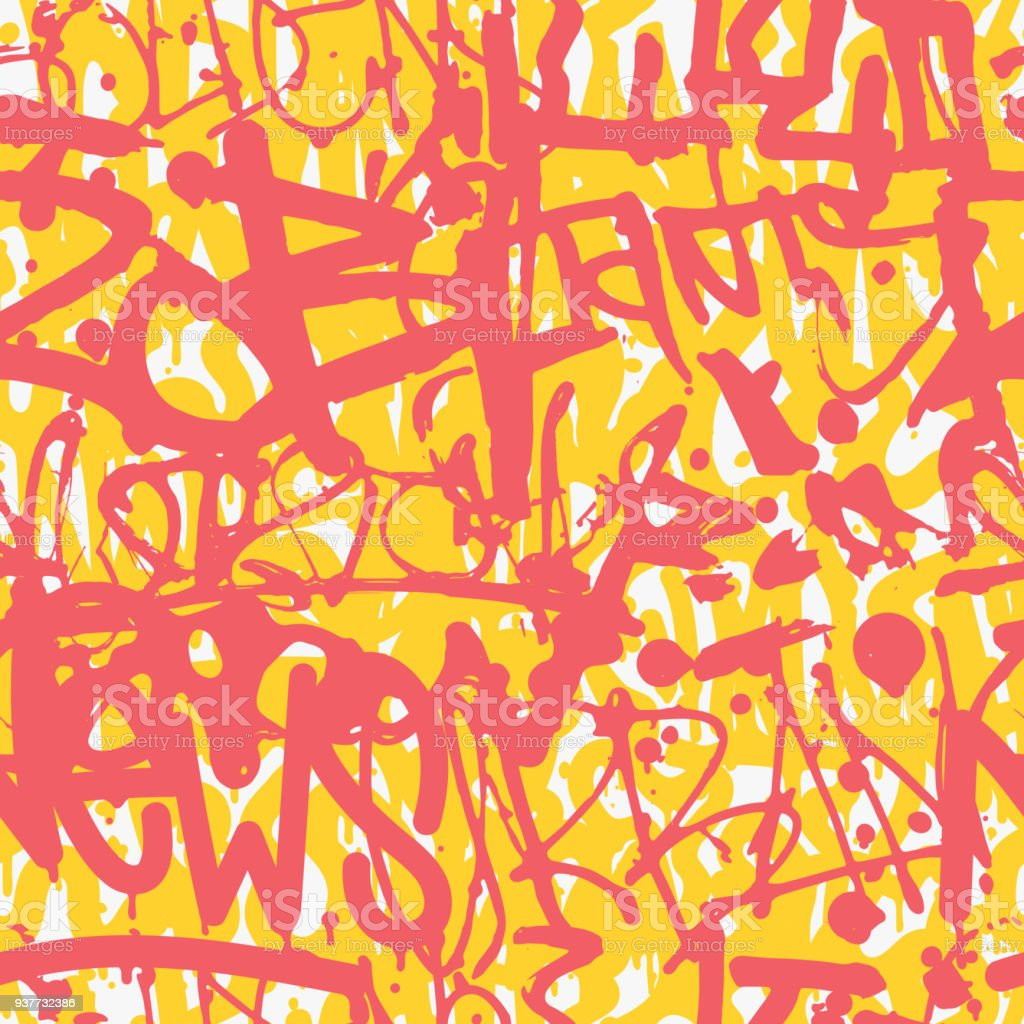 Vector graffiti seamless pattern with abstract colorful bright t royalty free vector graffiti seamless pattern