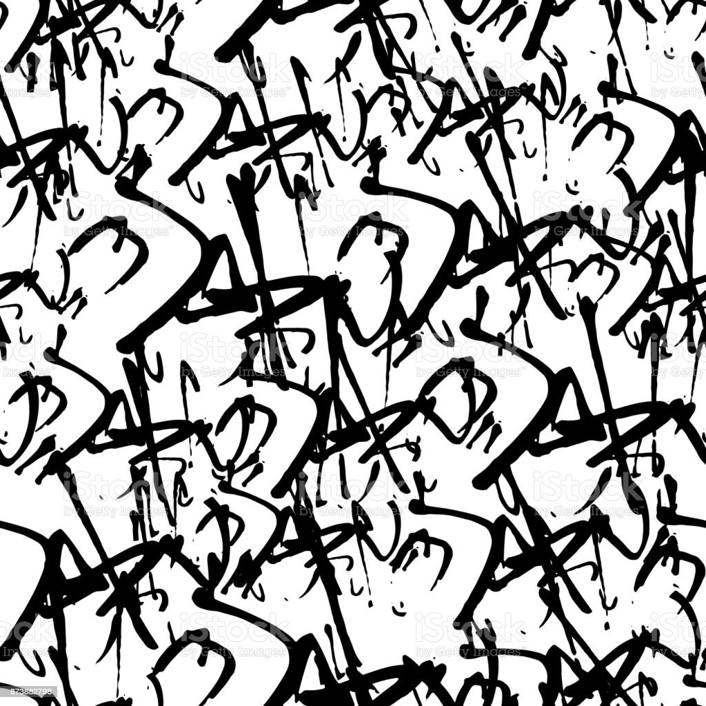 Mod le sans couture graffiti de vecteur avec des tags - L alphabet en graffiti ...