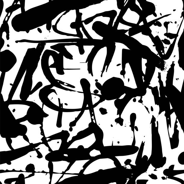 Vector graffiti seamless pattern with abstract tags Vector graffiti seamless pattern with abstract tags, letters without meaning. Fashion hand drawing texture, street art retro style, old school design for t-shirt, textile, wrapping paper, black white alphabet backgrounds stock illustrations