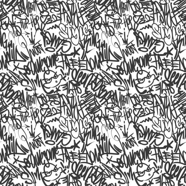vektör grafiti etiketler dikişsiz desen, baskı tasarımı. - duvar yazısı stock illustrations