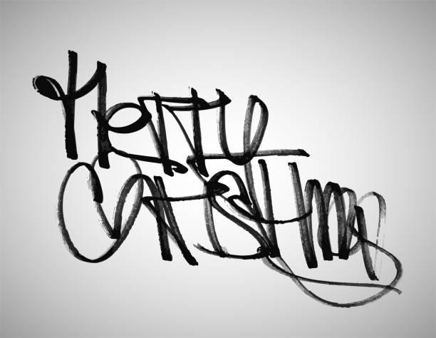 Vector graffiti text Merry Christmas vector art illustration