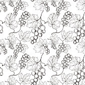 Vector Grape berry healthy food. Black and white engraved ink art. Seamless background pattern. Fabric wallpaper print texture.