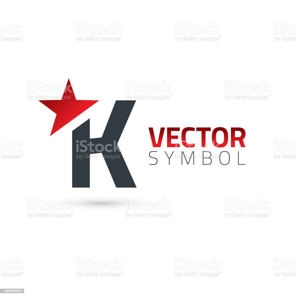 Vector Graphic Alphabet Symbol With Star Element Letter K Stock