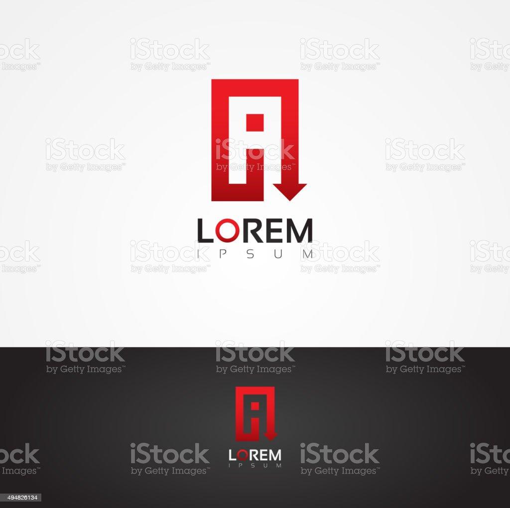 Vector graphic arrow themed alphabet symbol / A vector art illustration