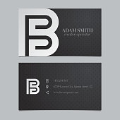 Vector graphic business card with alphabet symbol / letter B