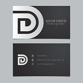 Vector graphic business card with alphabet symbol / letter D
