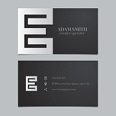 Vector graphic business card with alphabet symbol / letter E