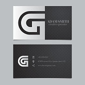 Vector graphic business card with alphabet symbol / letter G