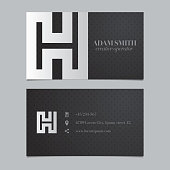 Vector graphic business card with alphabet symbol / letter H