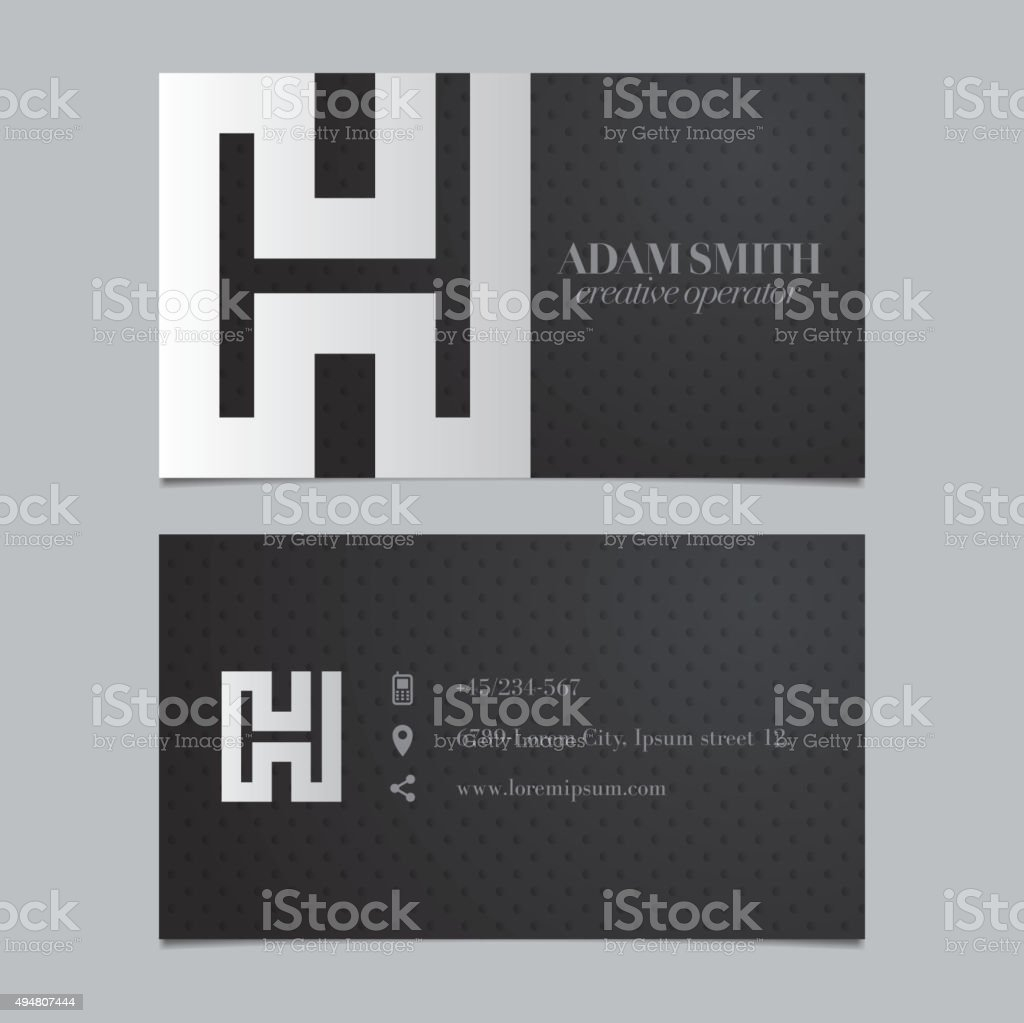 Vector graphic business card with alphabet symbol / letter H vector art illustration