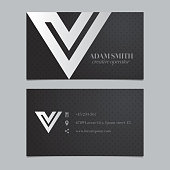 Vector graphic business card with alphabet symbol / letter V