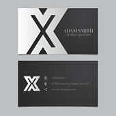 Vector graphic business card with alphabet symbol / letter X