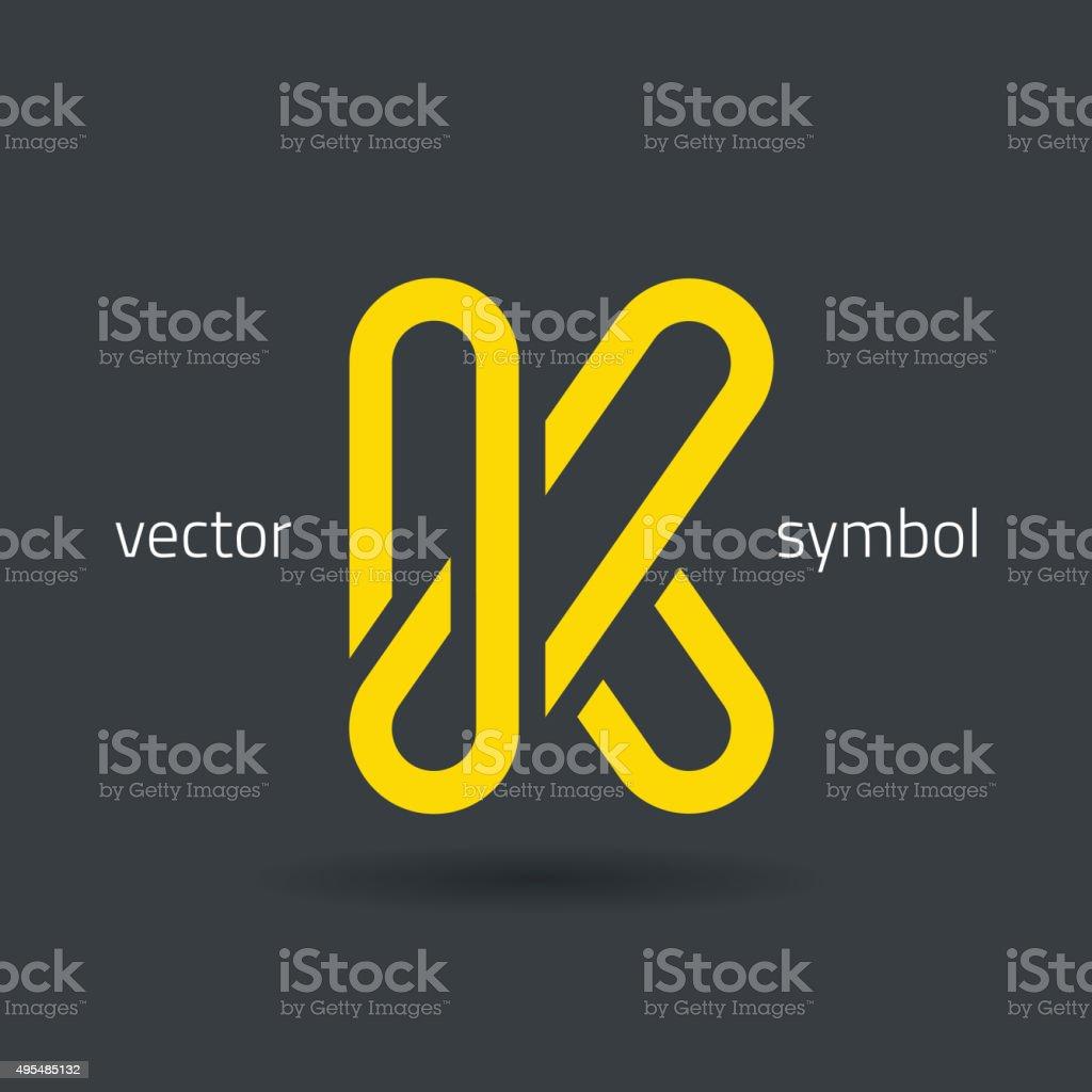 Vector graphic creative line alphabet symbol / Letter K vector art illustration