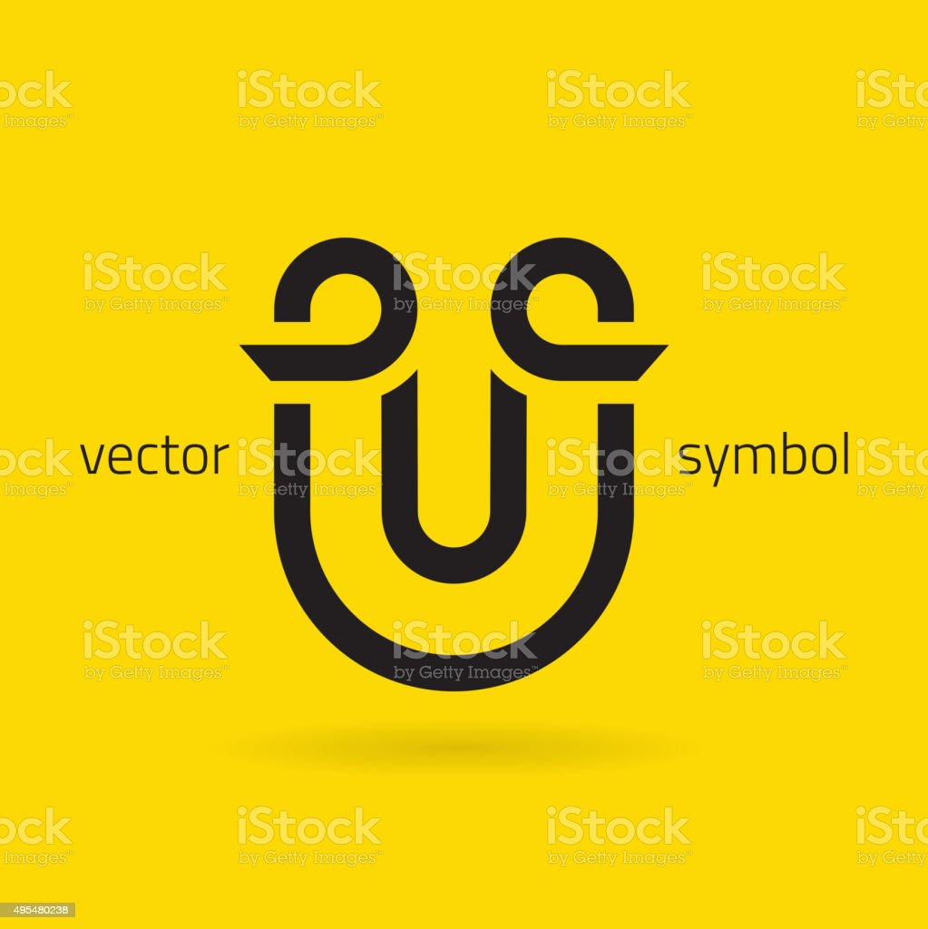 Vector graphic creative line alphabet symbol / Letter U vector art illustration