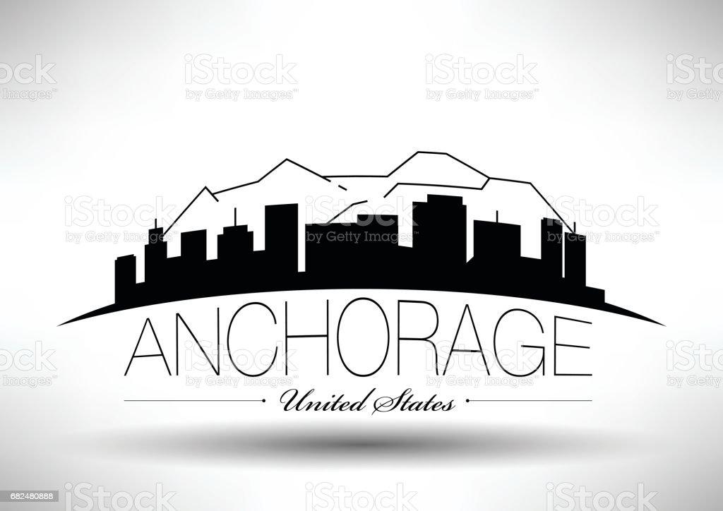 Vector Graphic Design of Anchorage City Skyline vector art illustration