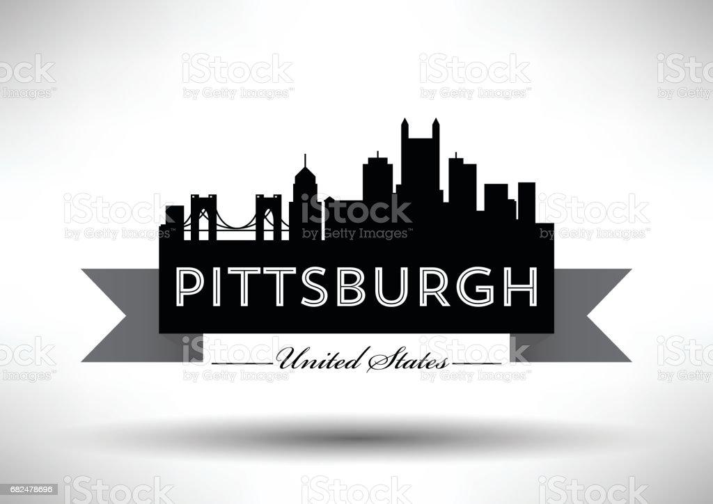 Pittsburgh şehir manzarası, vektör grafik tasarım royalty-free pittsburgh şehir manzarası vektör grafik tasarım stok vektör sanatı & abd'nin daha fazla görseli