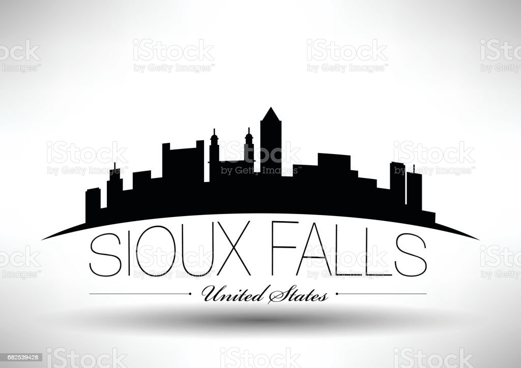 Vector Graphic Design of Sioux Falls City Skyline vector art illustration