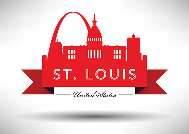 vector graphic design of st. louis city skyline - st louis stock illustrations
