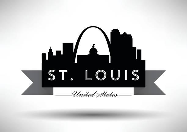 vector graphic design of st. louis city skyline - st louis stock illustrations