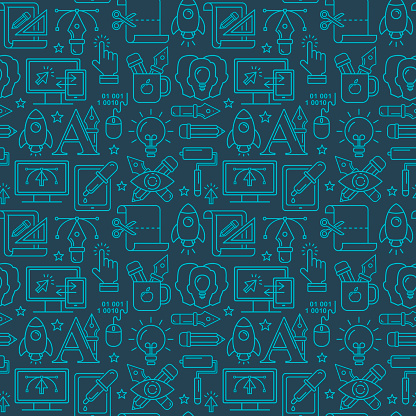 Vector graphic design seamless pattern with bright linear icons