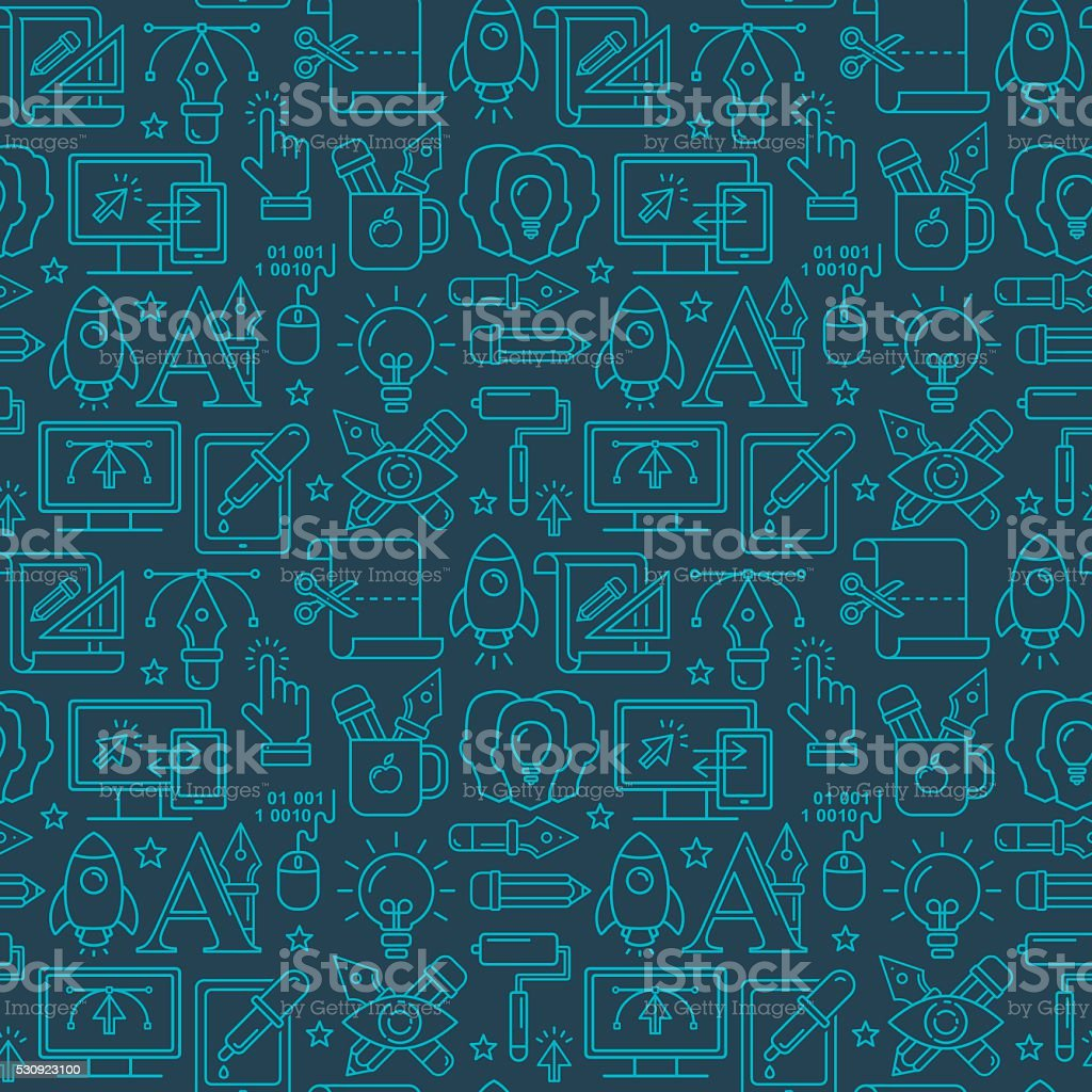 Vector graphic design seamless pattern with bright linear icons vector art illustration