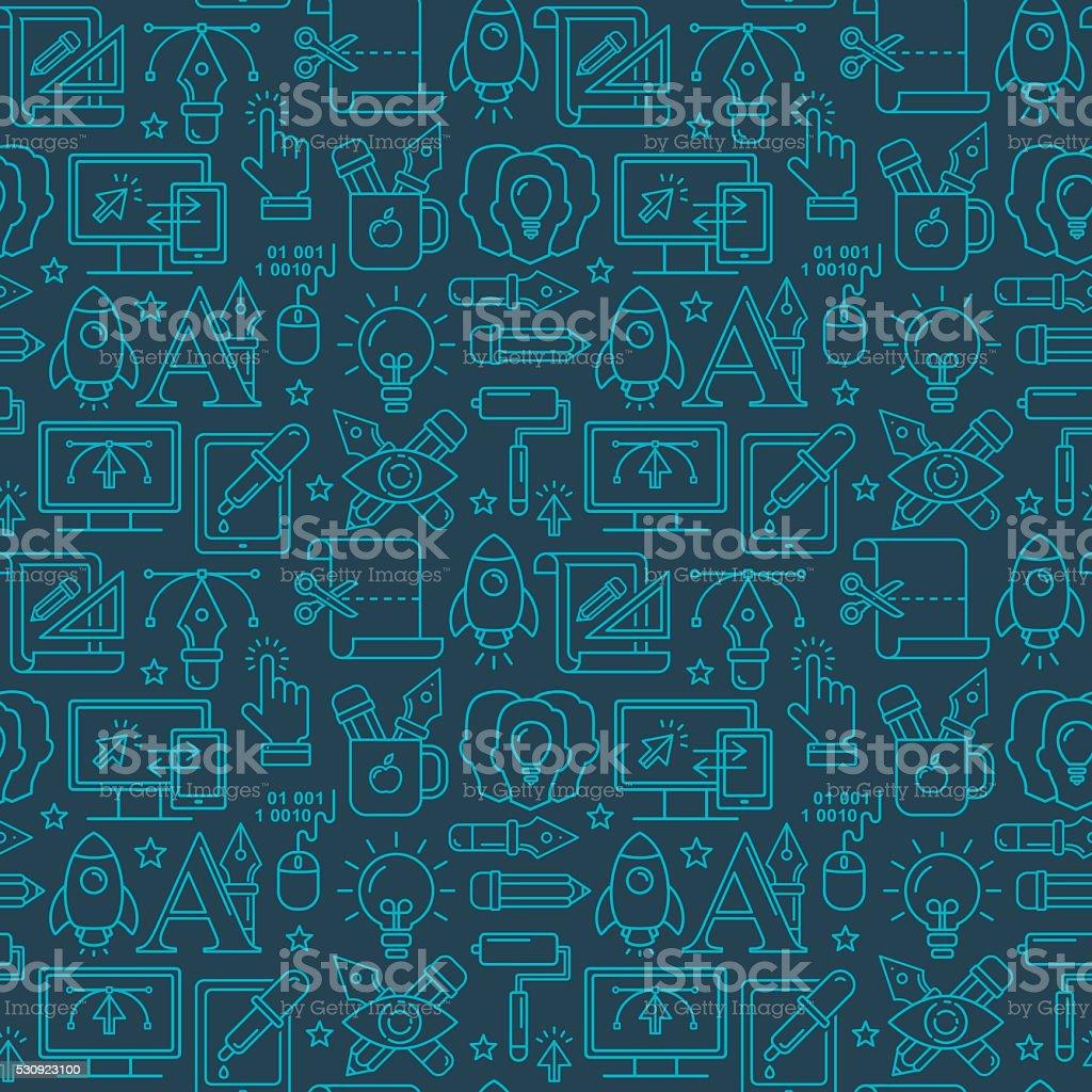 Vector de diseño gráfico Patrón continuo con brillante iconos lineal - ilustración de arte vectorial