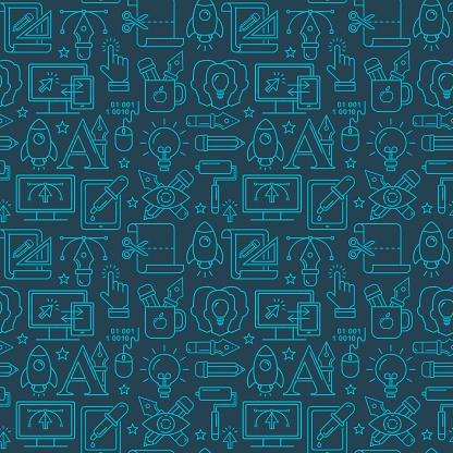 Vektorgrafikdesign Nahtloses Muster Mit Hellen Linear Symbole Stock Vektor Art und mehr Bilder von Bildhintergrund