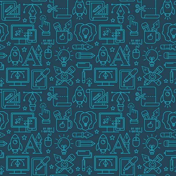 Vektor-Grafik-design, nahtloses Muster mit hellen linear Symbole – Vektorgrafik