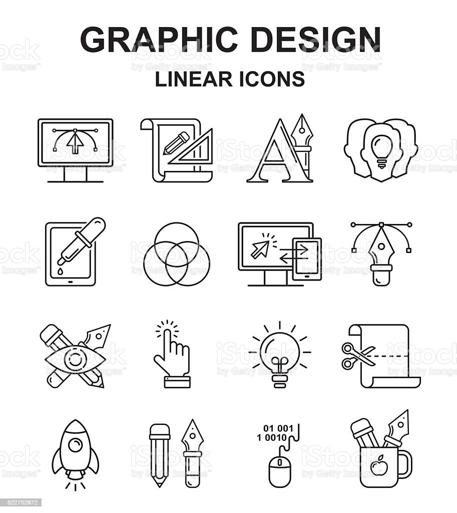 Vector graphic designer icons set in linear style. vector art illustration