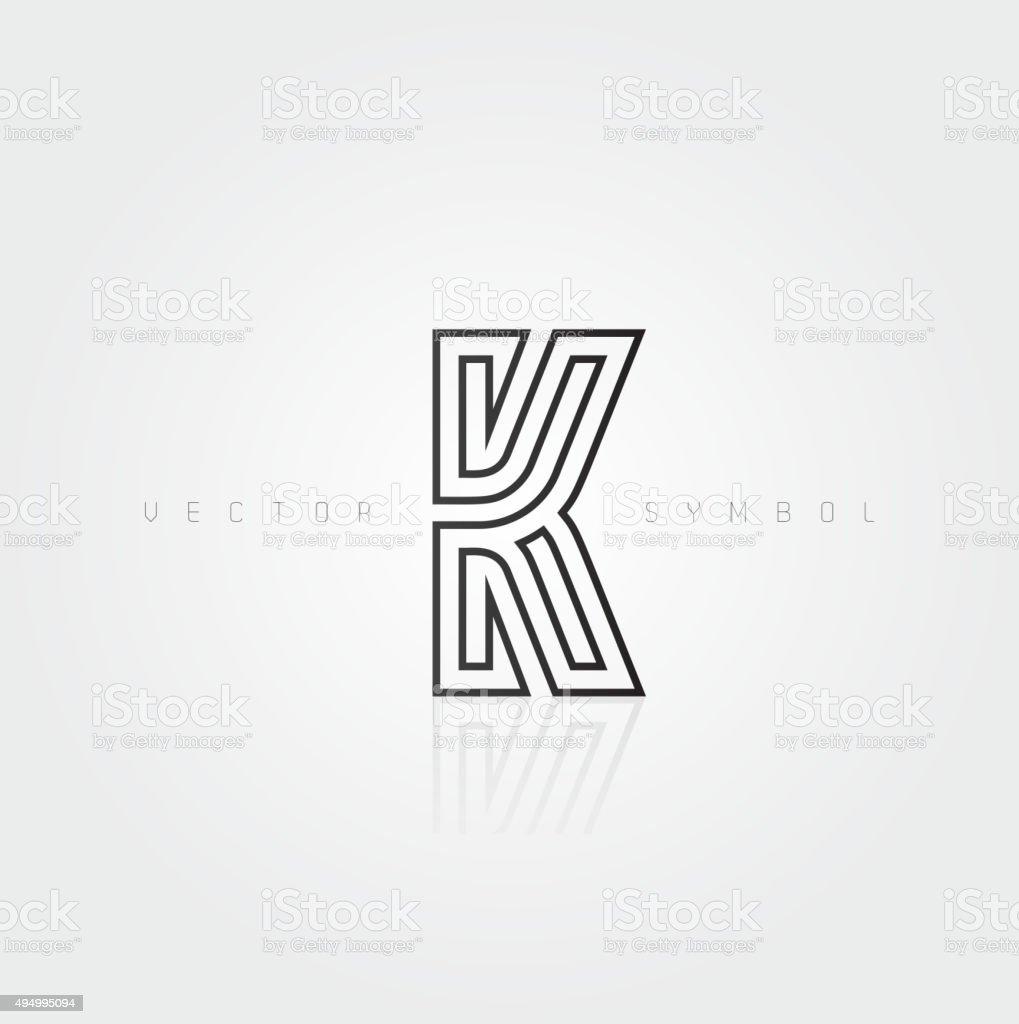 Vector graphic elegant and creative line alphabet / Letter K vector art illustration