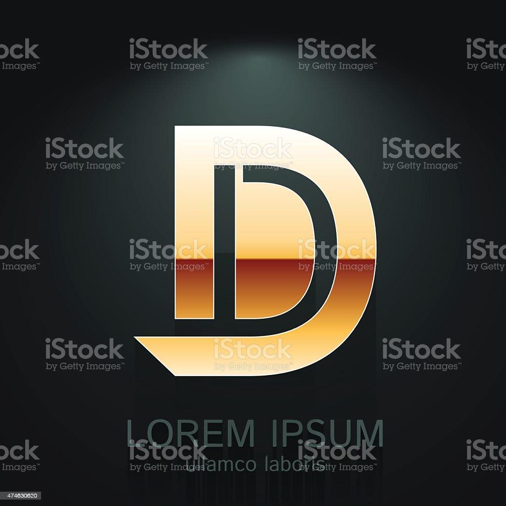 Vector Graphic Elegant Gold  Letter D vector art illustration