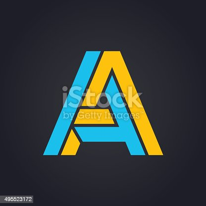Vector graphic geometric alphabet symbol with elegant  lines - A