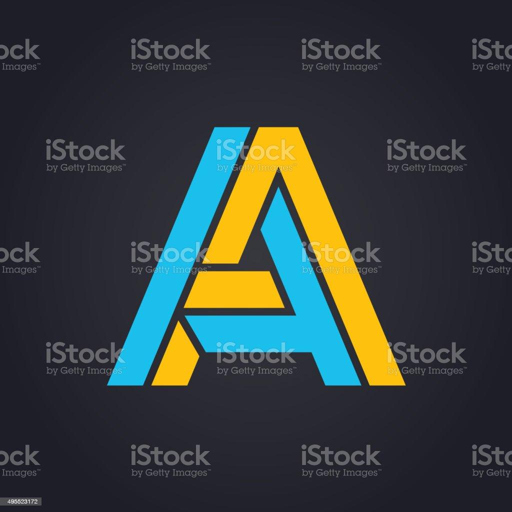 Vector graphic elegant impossible alphabet symbol in two colors vektör sanat illüstrasyonu