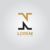 Vector graphic elegant silhouette alphabet symbol in two colors