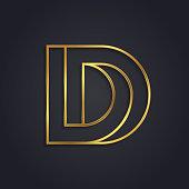 Vector graphic gold alphabet / impossible letter symbol / Letter