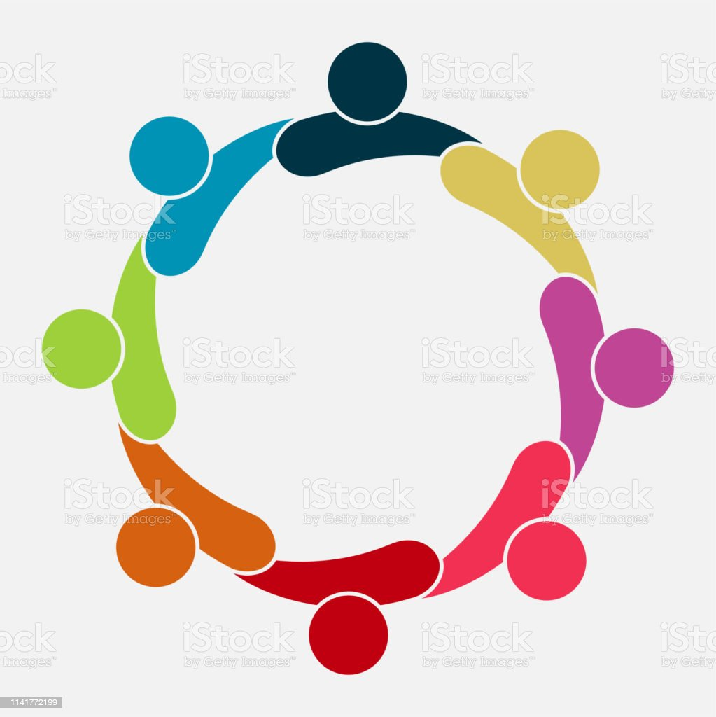 Vector graphic group connection logo.Eight people in the circle.logo...