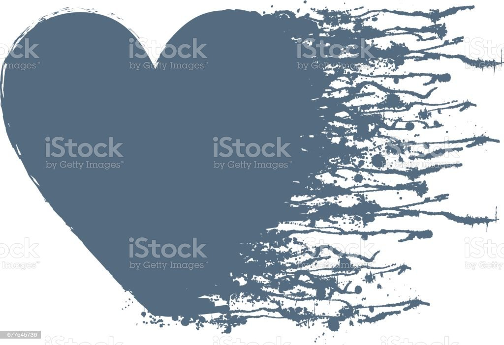 Vector graphic grunge illustration of heart sign with ink blot, brush strokes, drops isolated on the white background. Series of artistic illustration with splash, blots and brush strokes. royalty-free vector graphic grunge illustration of heart sign with ink blot brush strokes drops isolated on the white background series of artistic illustration with splash blots and brush strokes stock vector art & more images of art