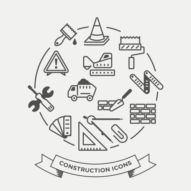 vektor-icon-set von bau - hausfarbpaletten stock-grafiken, -clipart, -cartoons und -symbole
